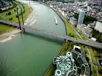 Tagged Videos: Knie Bridge on Rhine River