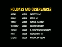 August AS Holidays and Observances